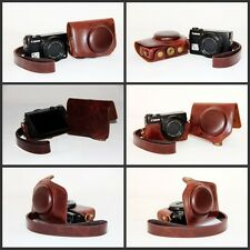 Coffee brown leather case bag for Canon Powershot G7 X Mark II, G7XII, G7X II