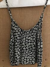 Brandy Melville Cropped Tank Top Floral One Size Xs Black