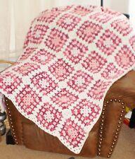 "Handmade retro/boho Crochet Afghan Granny Square 50"" x 59"" multi-pinks/white"