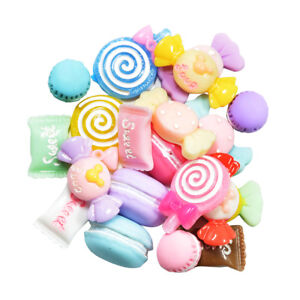 20x SWEETS & CANDY Flatback Cabochons Resin Kawaii Embellishments for Phone