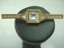 Vintage Genuine Swarovski SAL Clear Crystal Rhinestone Gold Tone Bar Pin Brooch