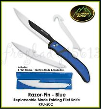 OUTDOOR EDGE Razor-Fin Blue Replaceable Blade Folding Filet Knife 2 Blade Style
