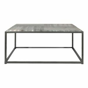 """35"""" W Coffee Table Square Charcoal Grey Solid Marble Top Iron Frame Modern"""