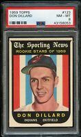 1959 Topps BB Card #123 Don Dillard Indians ROOKIE STARS PSA NM-MT 8 !!