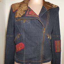 ISABEL De Pedro Womens Blue Jean Jacket Coat Blazer Embroidered Graphic Size 10