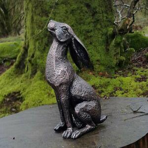 Pixieland New Bronze Moon Gazing Hare Garden Ornament Resin Statue