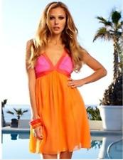 Stunning Lipsy BNWT Size 12 Babydoll Swing Party Dress Holidays Orange Pink
