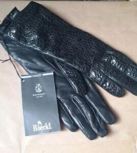 New Designer Ladies ROECKI Leather Gloves Size 6 1/2 Black Handmade