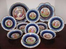Schmidt Cobalt Dessert Set 15 China Plates Bowls Cherub Classical Scenes Figures
