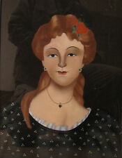 ANTIQUE REDHEAD BEAUTY FLOWER HEART AMERICAN FOLK ART PAINTING OLD CHINA EXPORT