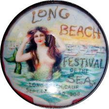 Crystal Dome Button Lg Sz  Vint Mermaid Long Beach CA   MM 20  FREE US SHIPPING