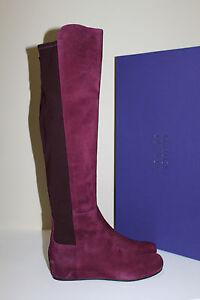 New 9.5 Stuart Weitzman Mainline BORDEAUX Suede Over Knee Wedge Heel Boot Shoe