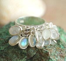 Breit Schlicht Silberring 55 Puschelring Ring Mondstein Glieder beweglich Silber