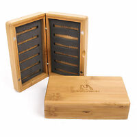 Maxcatch Bamboo Fly Box Slit Foam Wooden Fly Fishing Tackle Storage