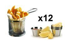 12 Piezas Mini Cromado Chip Freidora Servir Comida presentación cesta de