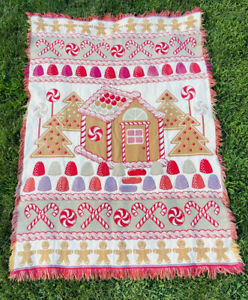 Christmas Gingerbread Man Houses Candy Cane Gum Tapestry Afghan Throw Blanket6x4