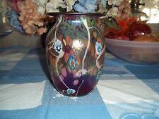 "Beautiful Red Art Glass Vase 7 1/4 "" tall Signed J. Bush ( Bish)"