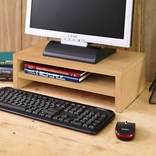 Modern Eco Friendly 2-Shelf Computer Laptop Desktop Monitor Riser, Natural