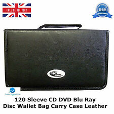 2 x  120 Sleeve CD DVD Blu Ray Disc Wallet Holder Bag Storage Carry Case Leather