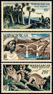 EBS Madagascar 1954 - Euphorbia, Viaduct, Lemur - Air Mail - MG PA 75-77 MNH**