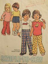 Easy VTG 75 SIMPLICITY 7061 Tdlrs Knit Tops Pants & Shorts PATTERN 2/21B