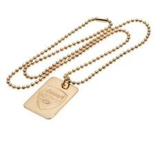 Official ARSENAL FC Gold Plated Dog Tag And Chain Necklace