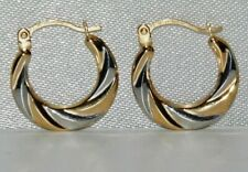 9ct Yellow & White Gold Fancy Swirl Creole Creole Hoop Earrings
