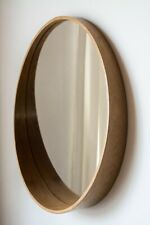 round wall mirror natural wood veener teak 27,5 in