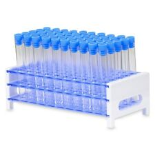 50 Tube - 13 x 100 mm Clear Plastic Test Tube Set with Blue Caps and Rack