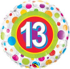"13th BIRTHDAY PARTY SUPPLIES 18"" AGE 13 COLOURFUL DOTS QUALATEX FOIL BALLOON"