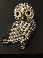 Elegant Rhinestone Faux Pearl Owl Brooch Pin Bird Animal Figural Vintage Style