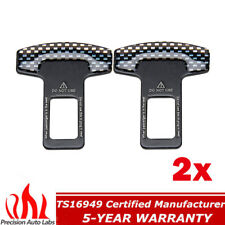 2x Universal Car Safety Seat Belt Buckle Alarm Stopper Clip Clamp Carbon Fiber