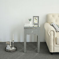 Side Table Chair End Mirror Stand Living Room Nightstand Sofa w/ Drawer Silver