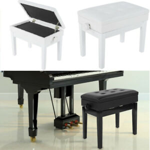 Adjustable Height Leather Piano Wood Bench Storage Keyboard Stool Padded Seat