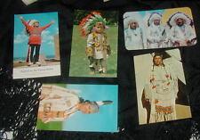5 VINTAGE COLOR PHOTO POSTCARDS, NATIVE AMERICAN INDIAN IMAGES