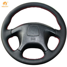 Black Leather Steering Wheel Cover Wrap for Mitsubishi Pajero Old Pajero Sport