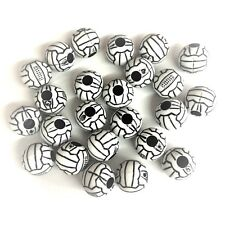 10 x White Acrylic Football Beads / Soccer Pony Beads 12mm Dummy Clips