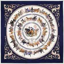 Large Square Silk Scarf-100% Silk Twill Blue Horse Carriage Equestrian 100x100cm