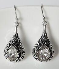 Ohrhänger Vintage Strass Kristall Tropfen ornamental crystal klar antik silber