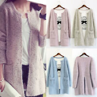 Women's Casual Knitted Cardigan Coat Long Sleeve Knitwear Jacket Sweater Outwear