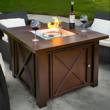 Outdoor Patio Heater Lpg Propane Firepit Table Fire Burning Gas Hammered Bronze