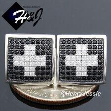 Men 925 Sterling Silver 12X12Mm Black Silver Iced Screw Back Stud Earring*Be116