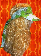 A90✪ 60er 70er Jahre Hippie Flower Power Langhaar Perücke Blumenkinder blond