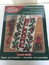 "New listing Christmas Welcome Latch Hook Kit 25076 J & P Coats 2000 20 "" x 36 "" Lois Winston"