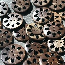 J622 10pcs 27L 18mm Natural Wooded Real Coconut Shell Button Laser Cut Pattern