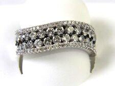 Fine Round Cut Curve Cluster Diamond Fashion Ring Band 14K White Gold 1.58Ct