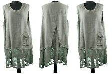 Sarah Santos brown quirky linen sleeveless layering top with lace detail size L