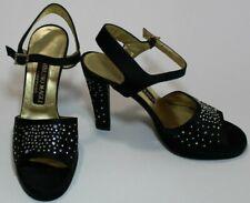 Bruno Magli Couture 6.5 Black Leather-lined Satin Sandal Rhinestone Ankle Strap