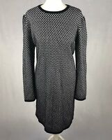 COS Size Large Knitted Jumper Dress Cotton Black & White Micro Check Print