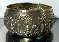 Vintage Asian Silver Toned Bowl with Zodiac Animals Design